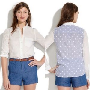 Madewell Polka Dot Back Contrast Button Down Top